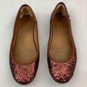 UGG antora glitter flats bronze comfort slip on